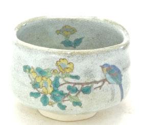 九谷焼通販 おしゃれな抹茶茶碗 抹茶碗 茶道具 金糸梅に鳥 中絵 正面の図