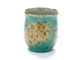 九谷焼通販 おしゃれなお湯呑 湯飲み ゆのみ茶碗 小 しだれ桜 緑塗り 裏絵