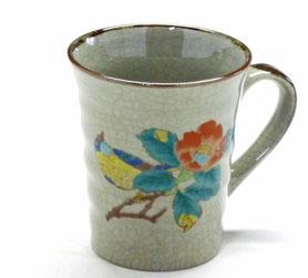九谷焼通販 おしゃれなマグカップ マグ 椿に鳥『裏絵』正面の図