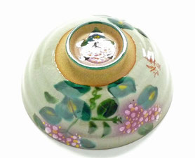 九谷焼通販 おしゃれな飯碗 茶碗 ご飯茶碗 小 がく紫陽花ピンク&ピンク『裏絵』正面の図