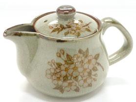 九谷焼通販 おしゃれな急須 茶器 ティーポット 小 しだれ桜『裏絵』正面の図