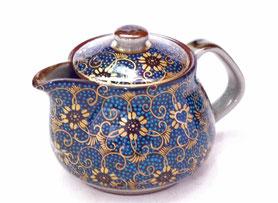 九谷焼通販 おしゃれな急須 茶器 ティーポット 大 手打ち青粒 正面の図