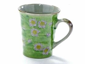 九谷焼通販 おしゃれなマグカップ マグ グリーン地桜『裏絵』正面の図