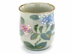 九谷焼通販 おしゃれなお湯呑 湯飲み茶わん がく紫陽花 裏絵