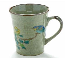 九谷焼通販 おしゃれなマグカップ マグ 金糸梅に鳥『裏絵』正面の図
