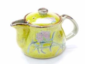 九谷焼通販 おしゃれな急須  茶器 ティーポット 小 なでしこ黄塗り 正面の図