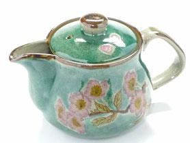 九谷焼通販 おしゃれな急須 茶器 ティーポット  小 ソメイヨシノ緑塗り『裏絵』正面の図