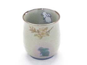 九谷焼通販 おしゃれなお湯呑 湯飲み ゆのみ茶碗 大 白兎しだれ桜 中裏絵(緑)