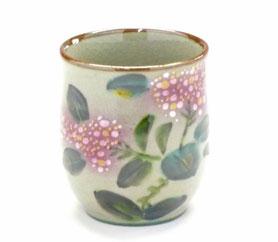 九谷焼通販 おしゃれなお湯呑 湯飲み ゆのみ茶碗 小 がく紫陽花 裏絵