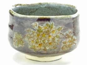 九谷焼通販 おしゃれな抹茶茶碗 抹茶碗 茶道具 しだれ桜 紫塗り 正面の図
