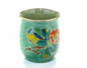九谷焼通販 おしゃれなお湯呑 湯飲み ゆのみ茶碗 大 椿に鳥緑塗り 裏絵