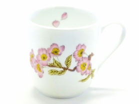 九谷焼通販 おしゃれなマグカップ マグ 磁器 ソメイヨシノ 中裏絵 正面の図