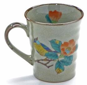 九谷焼通販 おしゃれなマグカップ マグ 左利き様用 椿に鳥 中裏絵 正面の図