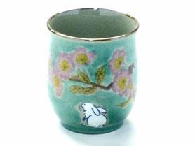 九谷焼通販 おしゃれなお湯呑 湯飲み ゆのみ茶碗 小 白兎ソメイヨシノ 緑塗り 裏絵
