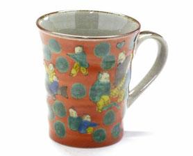 九谷焼通販 おしゃれなマグカップ マグ 木米写し『裏絵』正面の図