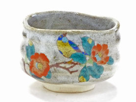 九谷焼通販 おしゃれな抹茶茶碗 抹茶碗 茶道具 椿に鳥 正面の図