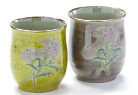 九谷焼通販 おしゃれなお湯呑 湯飲み ゆのみ茶碗 ペア 夫婦湯呑 なでしこ黄塗り&紫塗り 裏絵