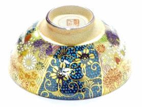 九谷焼通販 おしゃれな飯碗 ご飯茶碗 青粒 金花詰 正面の図