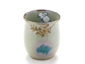 九谷焼通販 おしゃれなお湯呑 湯飲み ゆのみ茶碗 小 白兎しだれ桜 中裏絵