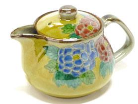 九谷焼通販 おしゃれな急須 茶器 ティーポット 大 濃い塗り牡丹『裏絵』正面の図