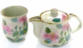 九谷焼通販 おしゃれな急須  茶器 ティーポット 2点セット 小 がく紫陽花『裏絵』正面の図