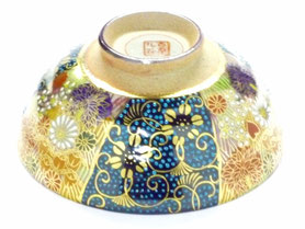 九谷焼通販 おしゃれな飯碗 茶碗 ご飯茶碗 小 青粒+金花詰(傑作)