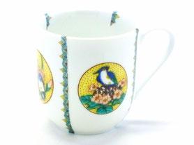 九谷焼通販 おしゃれなマグカップ マグ  磁器 丸紋吉田屋花鳥 小紋付  正面の図