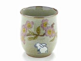 九谷焼通販 おしゃれなお湯呑 湯飲み ゆのみ茶碗 小 白兎ソメイヨシノ 中裏絵