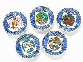 九谷焼通販 おしゃれ 皿揃え 小皿 3.3寸丸皿 九谷焼時代画