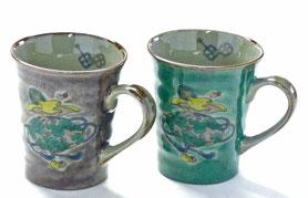 九谷焼通販 おしゃれなマグカップ マグ ペア セット 宝尽くし 紫&緑塗り 裏絵 正面の図