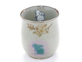 九谷焼通販 おしゃれなお湯呑 湯飲み ゆのみ茶碗 大 白兎しだれ桜 中裏絵