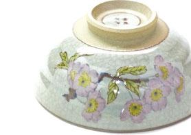 九谷焼通販 おしゃれな飯碗 茶碗 ご飯茶碗 小 ソメイヨシノ 中絵 正面の図