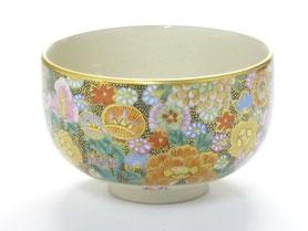 九谷焼通販 おしゃれな抹茶茶碗 抹茶碗 茶道具 本金 金花詰 正面の図