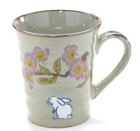 九谷焼通販 おしゃれなマグカップ マグ 白兎ソメイヨシノ『裏絵』正面の図