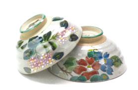 九谷焼通販 おしゃれ 飯碗 ご飯茶碗  大 紫陽花 山茶花