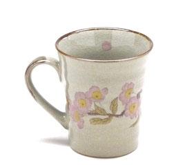 九谷焼通販 おしゃれなマグカップ マグ 左利き様用 ソメイヨシノ 中裏絵 正面の図