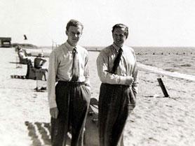Benjamin Britten and Peter Pears on Jones Beach, Long Island, USA, 1940