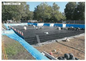 月寒公園での雨水貯留施設の工事の様子