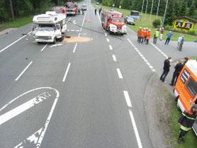 Unfallaufnahme - Vermessung und Spurensicherung.
