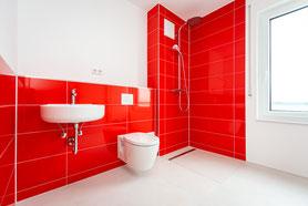 Raisch Fliesen Stuttgart und Esslingen - Glänzend rote Steingutfliesen - Mut zur Farbe