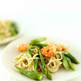 Crevetten-Spargel-Spaghetti.