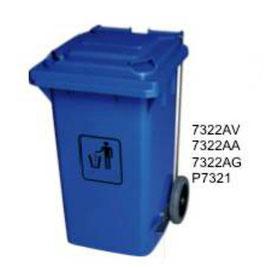 7322AV, 7322AA, 7322AG, P7321. Basurero control Pedal con llantas de Polietileno de Alta Densidad 4.8 mm. Colores: Verde, Azul y Gris. Medidas: 74 X 59.3 X  107cm . Capacidad: 240 litros