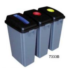 7333B. Bote para Reciclar ( 3 piezas de 60 litros). Medidas: 136 X 33 X65.5 cm. Capacidad: 60 litros