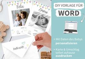 diy, basteln, Geburtskarte, Karte Baby, Geburt, Dankeskarte zur Geburt, ausdrucken, Baby, personalisierte Geburtskarte, Vorlage, selbst gestalten, Geburtsanzeiger