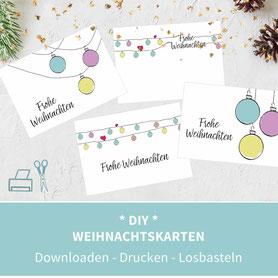 Karten basteln, Karten selber machen, Weihnachtsgrüße, Weihnachten, Vorlagen, Druckvorlagen, diy, Papier, drucken