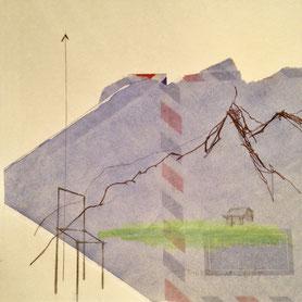 Johannes Morten, Alpen, Berge, Landschaft, Stuhl, Haus, Linie, Grün,Blau,Natur,Collage