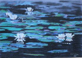 """""""Lilies at dusk"""" Pastell on Ingrés paper (1988) 63 cm x 48 cm"""