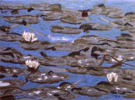 """Lilies at dawn"" Pastell on Ingrés paper (1988)"