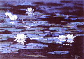 """""""Water lilies"""" Pastell on Ingrés paper (1988)"""