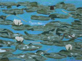 """""""Lilies"""" Pastell on Ingrés paper (1988) 63 cm x 48 cm"""
